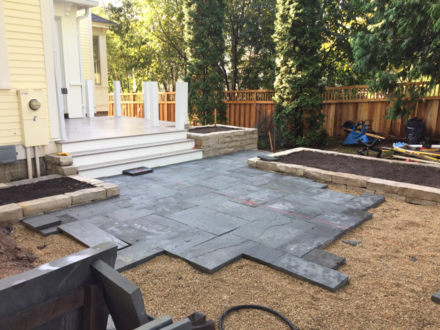 Patio featuring Bluestone and Limestone