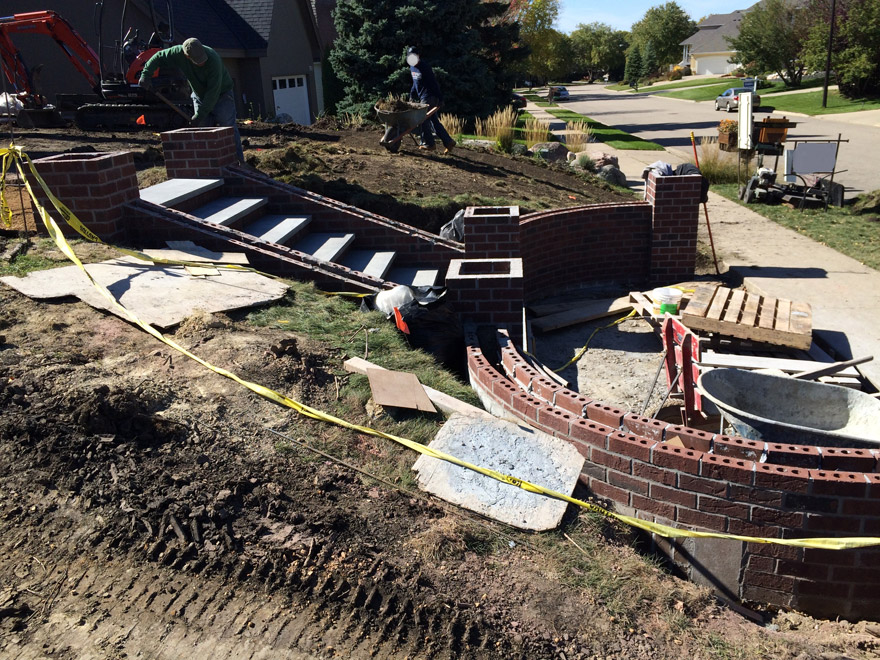 Brick Walls and Columns being Prepared in Bloomington, MN