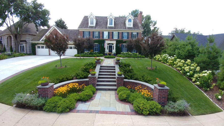 Completed Landscaping in Bloomington, MN at Colonial-style Home