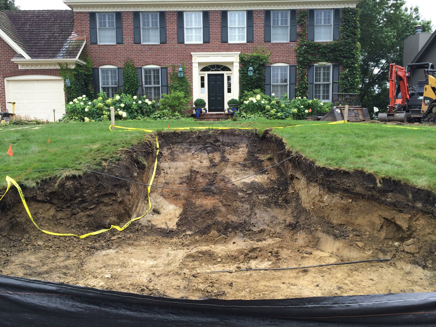 Colonial Home in Bloomington, MN Excavating Front Entry Walk