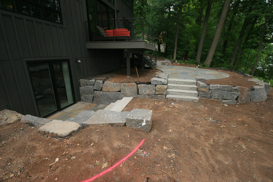 Modern Cabin with Lower Level Patio Door and Bluestone Landing