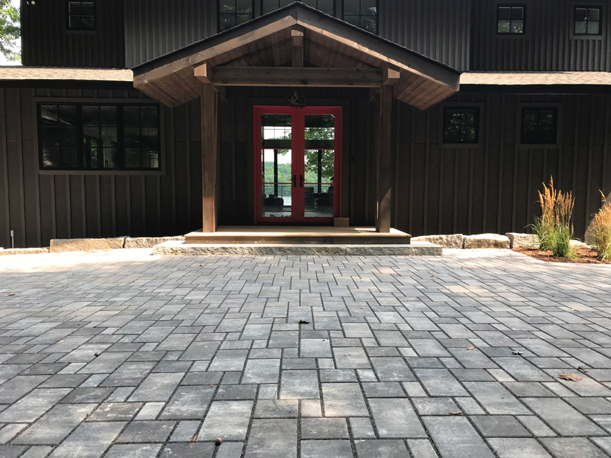 Cumberland, WI Modern Cabin with Paver Driveway and Stone Step Front Entry