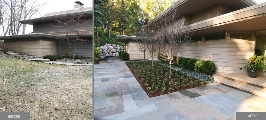 Lake Minnetonka Mid-Century Modern Front Entry with bluestone and boulders