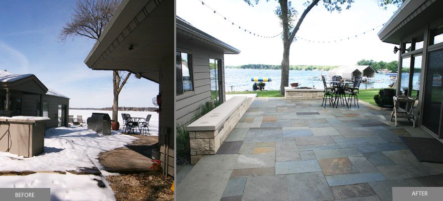 Lakeside-Patio-before-and-after-with-blusestone-and-gas-fire-pit-tonka-bay-mn