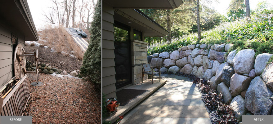 Before and After Side walkway carved out with boulder wall and bluestone walkway Lake Minnetonka Minnesota