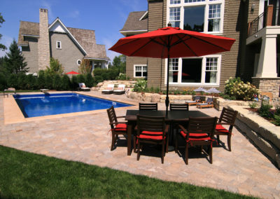 Luxury Vinyl Swimming Pool with Paver Patio Sun Deck