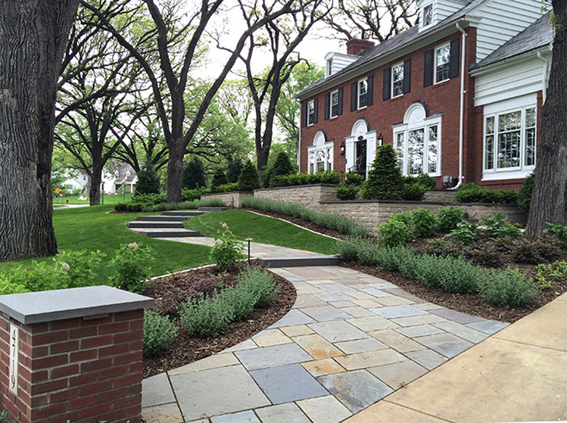 Colonial Front Yard Walkway After Landscaping