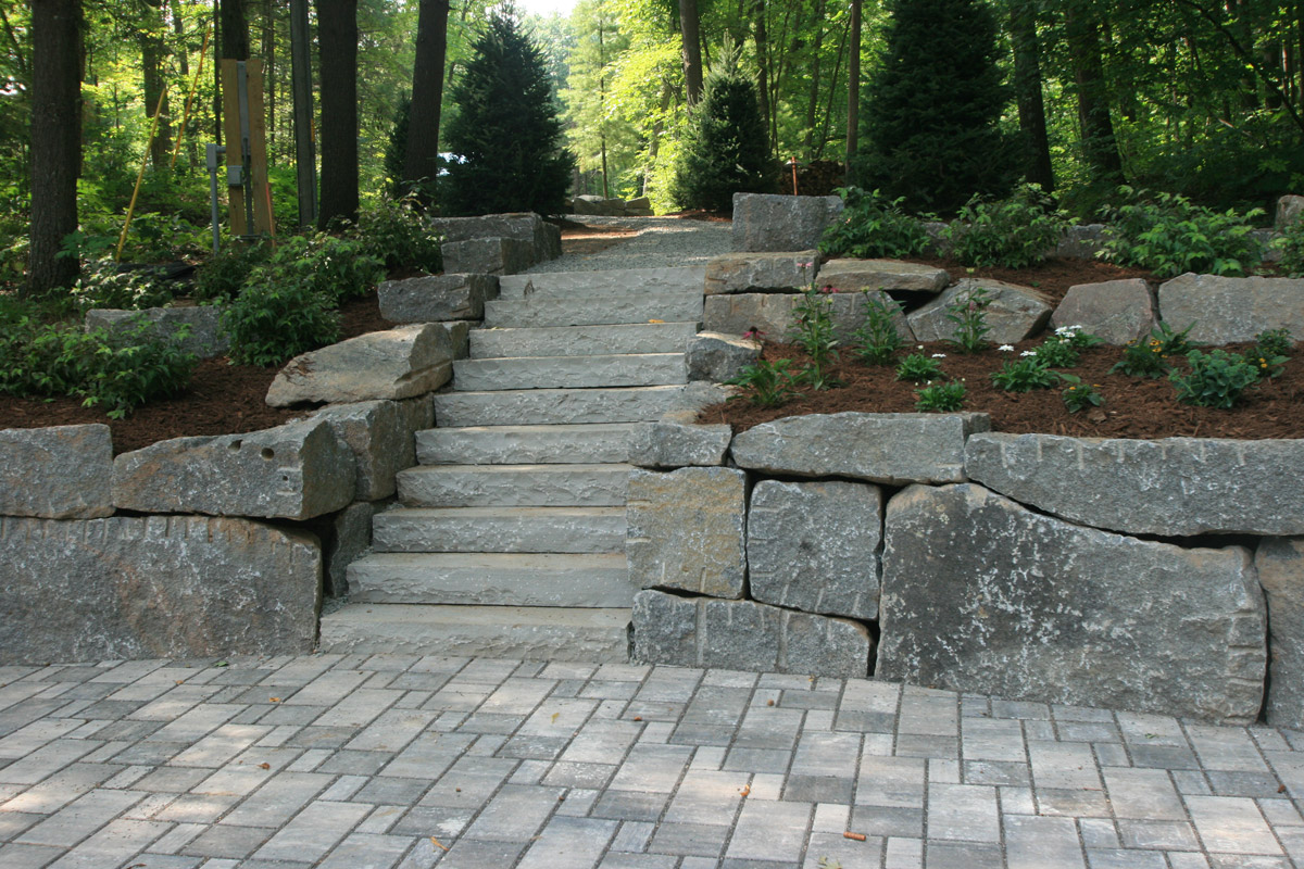 Permeable Pavers, Granite Walls and Bluestone Steps