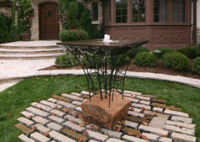 Custom Metal and Stone Water Feature