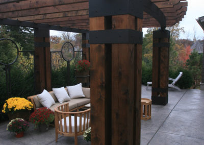 Custom Metal and Wood Large Arbor over Patio