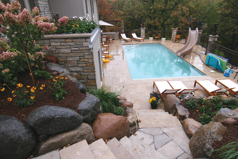 Edina Backyard Pool and Patio After Landscaping