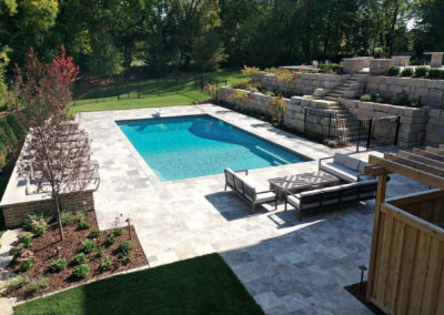Swimming Pool and Patio Area with Travertine Tile in Edina, MN