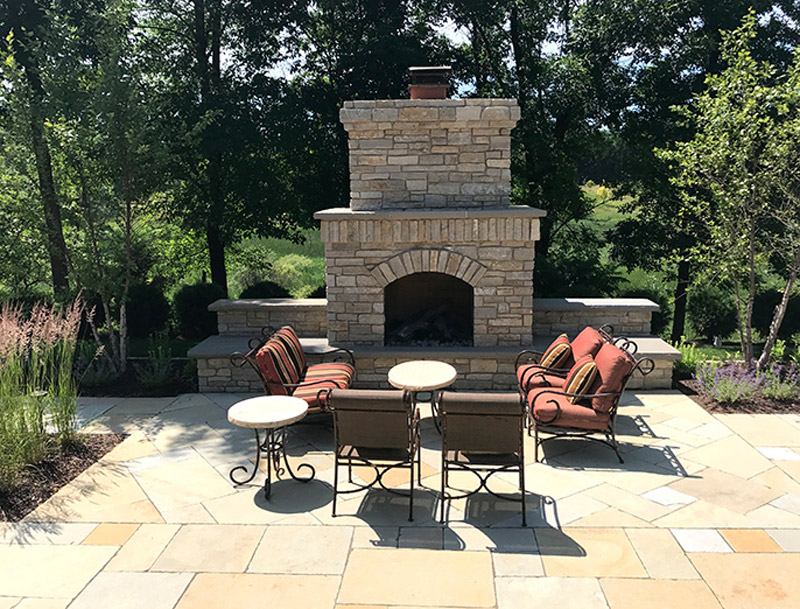 Fireplace and Patio After Landscaping