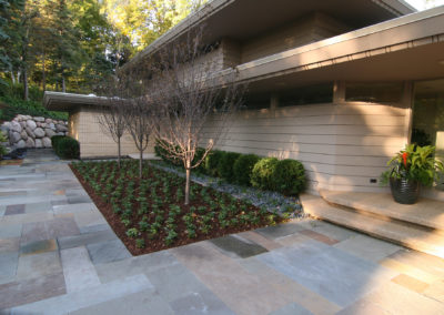 Modern Remodeled Front Entry with Bluestone Walkway and Plantings