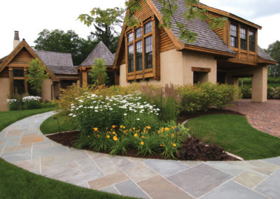 Curved Bluestone Walkway and Paver Driveway Front Entrance in Wayzata, MN