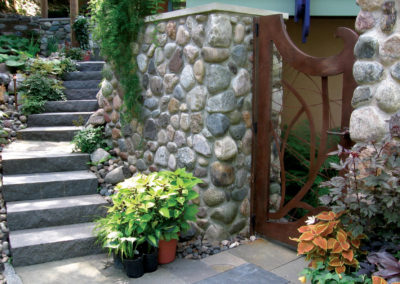 Custom Steel Gate, Bluestone Walkway, and Granite Steps