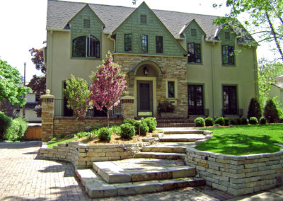 Limestone and Paver Front Entry of a Remodeled House in Edina, MN