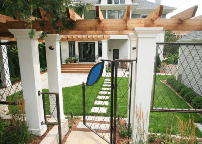 Minneapolis MN Remodeled Backyard with Custom Metal Gate and Fencing