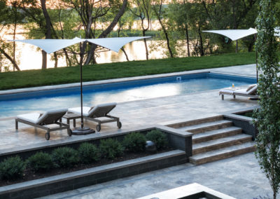 Vinyl Swimming Pool and Spa with Limestone Patio