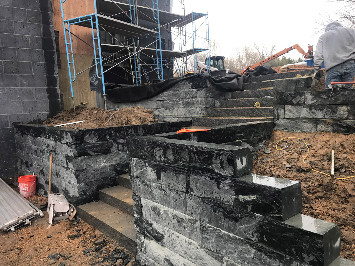 Orono Side Granite Retaining Wall under construction