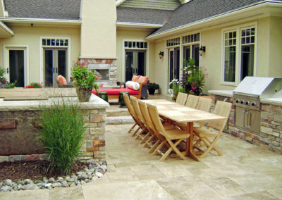 Travertine Patio and Limestone Outdoor Kitchen and Spa in St. Paul, MN