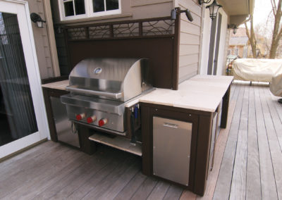 Custom Metal Outdoor Kitchen on Raised Ipe Wood Deck