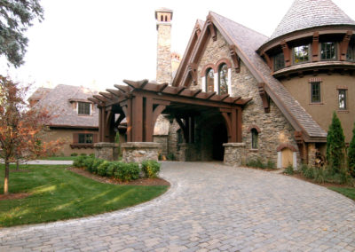 Paver Driveway with Arbor over Front Entry