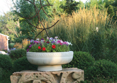 Haddonstone Planter with Custom Metal Sculpture