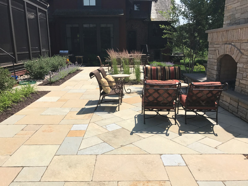 Patio and Fireplace After Landscaping