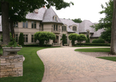 Paver Driveway with Ribbon Detail and Dry-Staked Pillars