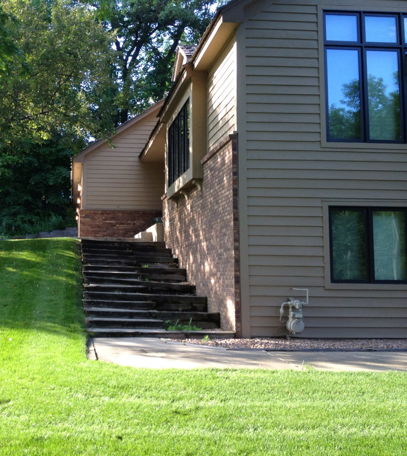 Side Staircase Before Yardscapes