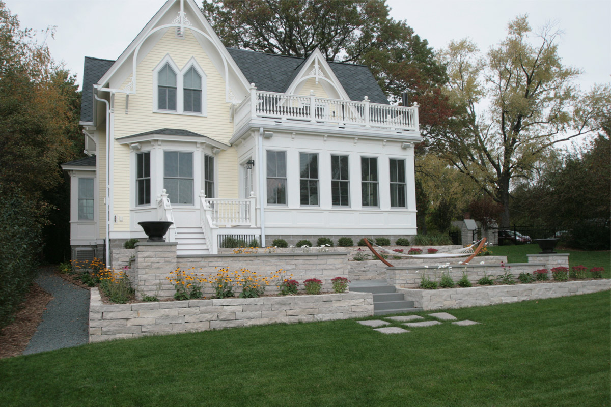Stillwater, Minnesota Historic Home on the St. Croix River with Limestone Retaining Wall