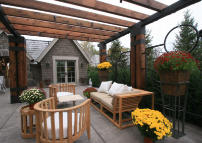 Wood and Steel Arbor with Custom Metal Details and Furnishings from Twisted Elements