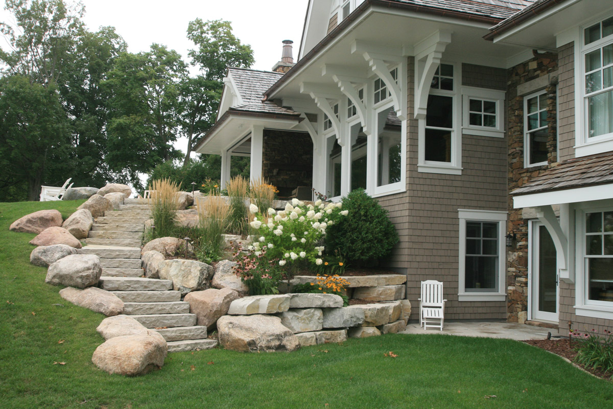 Boulders and Limestone for Staircase and Retaining Walls
